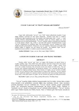 1/2 2013, Sayfa: 25-35. Xelqara Uyğur Tetqiqati Jornali, San: 1/2