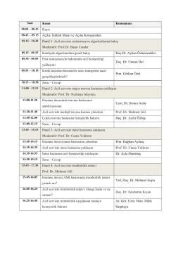 İstiklal Marşı ve Açılış Konuşmaları Panel 1: Acil serviste