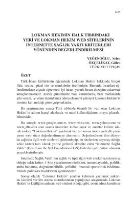 ÖZÇELİKAY, Gülen-LOKMAN HEKİMİN HALK TIBBINDAKİ