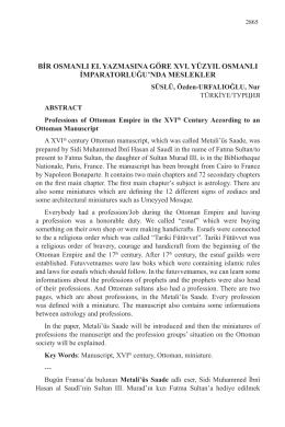 bir osmanlı el yazmasına göre xvı. yüzyıl osmanlı