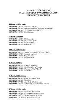 2014 - 2015 güz dönemi bilgi ve belge yönetimi bölümü arasınav