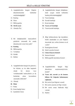 BİLGİ ve BELGE YÖNETİMİ - Basın Yayın ve Enformasyon Genel