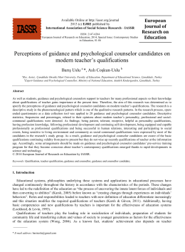 Perceptions of guidance and psychological counselor candidates on