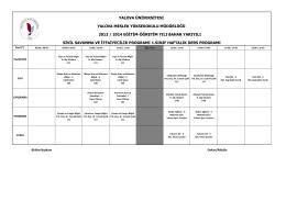 2013-2014 Bahar Dönemi Ders Programı 1. Sınıf