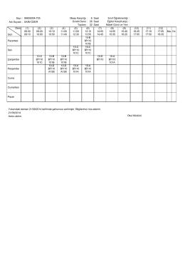 Sayı : 96655004-705 Maaş Karşılığı : 6 Sınıf Öğretmenliği : Ders Gün