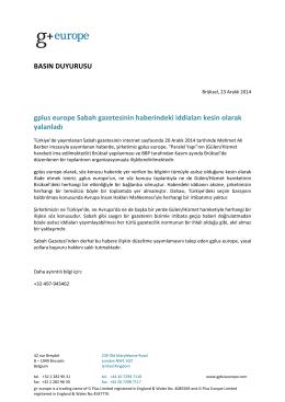 BASIN DUYURUSU gplus europe Sabah gazetesinin haberindeki