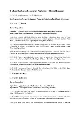 II. Ulusal Surfaktan Replasman Toplantısı – Bilimsel Program