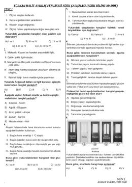 türkan halit aykılıç fen lisesi fizik çalışması (fizik bilimi-madde)