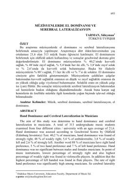 TARMAN, Süleyman-MÜZİSYENLERDE EL DOMİNANSI VE