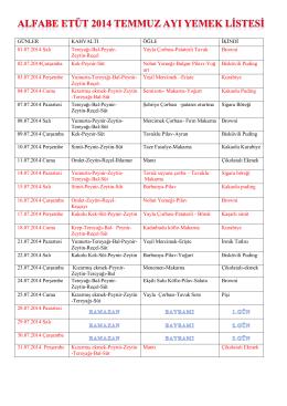 GÜNLER KAHVALTI ÖĞLE İKİNDİ 01.07.2014 Salı Tereyağı-Bal