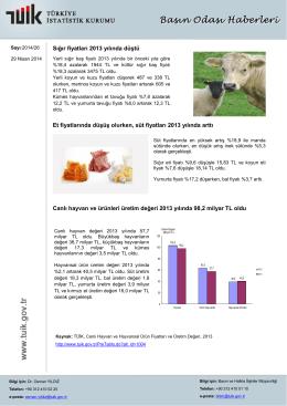 Sığır fiyatları 2013 yılında düştü Et fiyatlarında düşüş olurken, süt