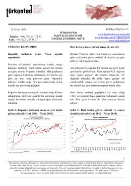 Haftalık Ekonomi Değerlendirme Raporu – 28.04.2014