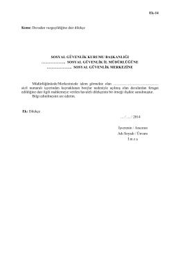 Ek-14 Konu: Davadan vazgeçildiğine dair dilekçe SOSYAL