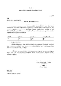 Ek - 5 Laboratuvar Taahhütname Formu Örneği …/…/20 T.C.