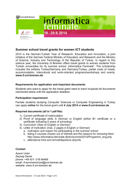 Summer school travel grants for women ICT students