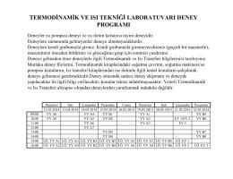 termodinamik ve ısı tekniği laboratuvarı deney programı