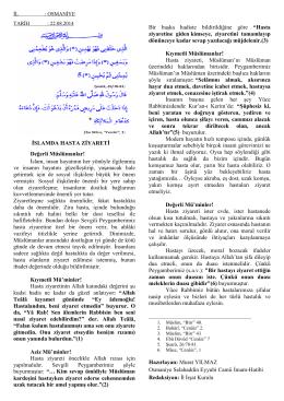 İSLAMDA HASTA ZİYARETİ Değerli Müslümanlar!