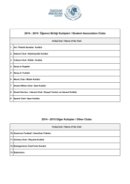2014 - 2015 Diğer Kulüpler / Other Clubs 2014