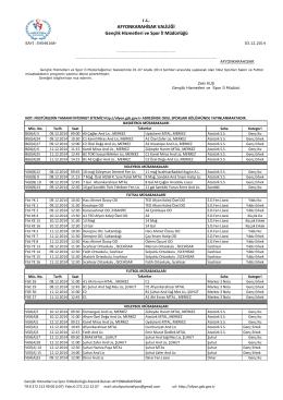 03.12.2014 03.12.2014 Tarihli Haftalık Salon Programı Okul Sporları