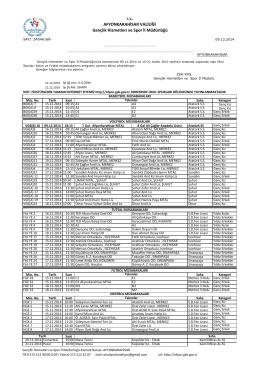 12.12.2014 12.12.2014 Tarihli Haftalık Salon Programı Okul Sporları