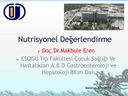 Nutrisyonel Değerlendirme - Türk Çocuk Gastroenteroloji Hepatoloji