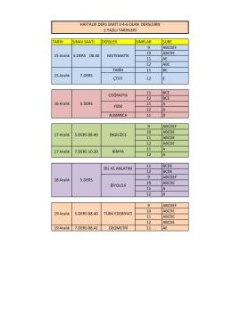 haftalık ders saati 3-4-6 olan derslerin 2.yazılı tarihleri