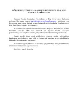 Bağımsız Denetim Kuruluşları Yetkilendirme ve Bilgi Giriş Sistemi