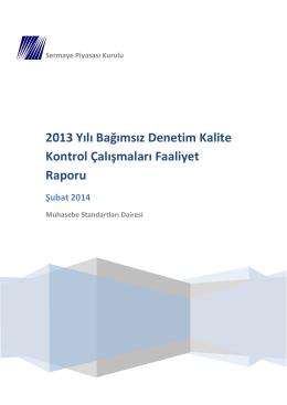 2013 Yılı Bağımsız Denetim Kalite Kontrol Çalışmaları Faaliyet Raporu