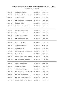 SUMEROLOJİ ANABİLİM DALI 2014-2015 EĞİTİM