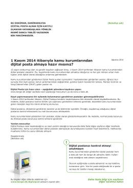 1 Kasım 2014 itibarıyla kamu kurumlarından dijital posta
