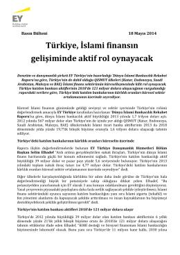 18.05.2014: Türkiye, İslami finansın gelişiminde aktif rol oynayacak