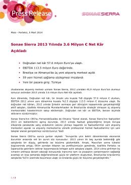 Sonae Sierra 2013 Yılında 3.6 Milyon € Net Kâr Açıkladı
