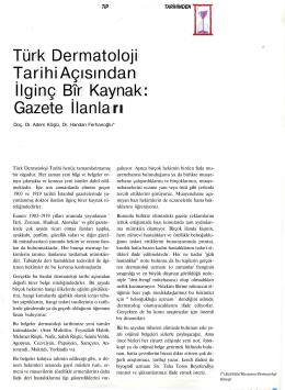 Türk Dermatoloji Tarihi Açısından İlginç Bîr Kaynak Gazete İlanla