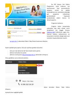 Bu PDF dosyası Yeni Ekders Programının rahat kullanımı için