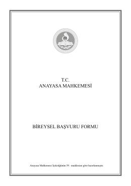 T.C. ANAYASA MAHKEMESİ BİREYSEL BAŞVURU - Sime-Sen