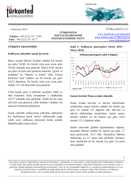 Haftalık Ekonomi Değerlendirme Raporu – 10.06.2014