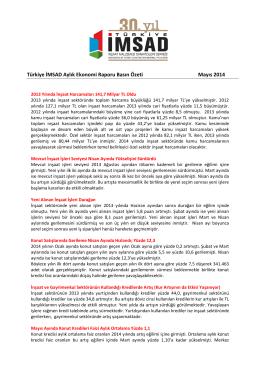 Türkiye İMSAD Aylık Ekonomi Raporu Basın Özeti Mayıs 2014