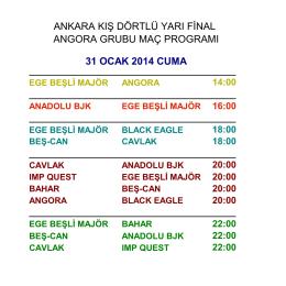 ankara kış dörtlü yarı final angora grubu maç programı 31 ocak 2014