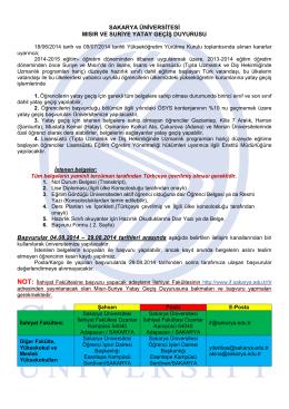 2014-2015 öğretim yılı sakarya üniversitesi suriye