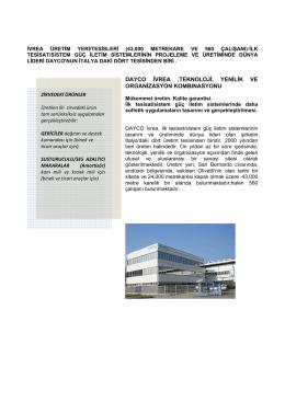 Dayco Ívrea ,teknolojí, yenílík ve organízasyon kombinasyonu