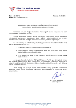Sayı : Gn-03/72 Ankara, 06.06.2014 Konu : Yumurta ambalajı hk