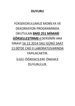 Mobilya Dekorasyonu Programı BMD 251 MİMARİ