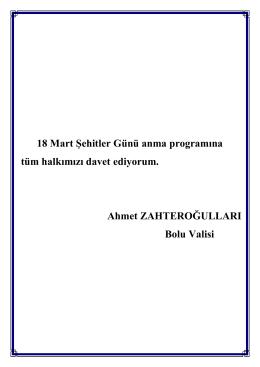 18 Mart Şehitler Günü anma programına tüm halkımızı davet
