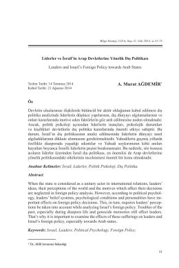 A. Murat AĞDEMİR* - Bilge Strateji Dergisi