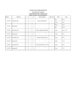Perş. 08-12 Cuma 08-12 P.tesi 13-15 Salı 08