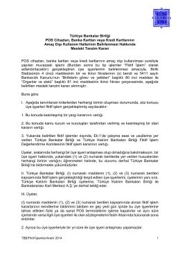 TBB Fiktif İşlem Kararı - Türkiye Bankalar Birliği