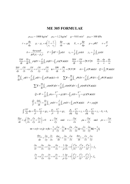 Formulae sheet for the Final Exam