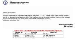 Kütüphaneye Kitap Teslimi - Adnan Menderes Üniversitesi