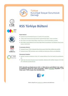 KSS Türkiye Bülteni - Kurumsal Sosyal Sorumluluk Derneği