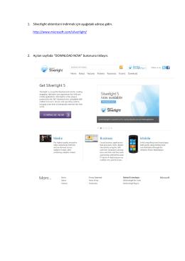 1. Silverlight eklentisini indirmek için aşağıdaki adrese gidin. http